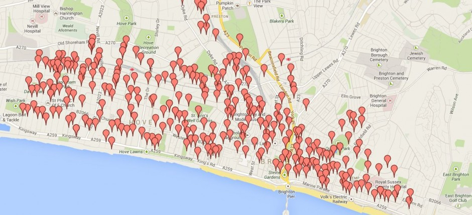 Free Map of Motorcycle Bays in Brighton Hove Ecommerce Sussex LTD