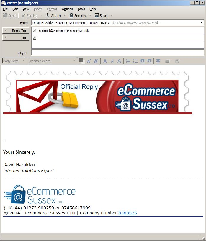 ecommerce sussex ltd custom email template header and footer